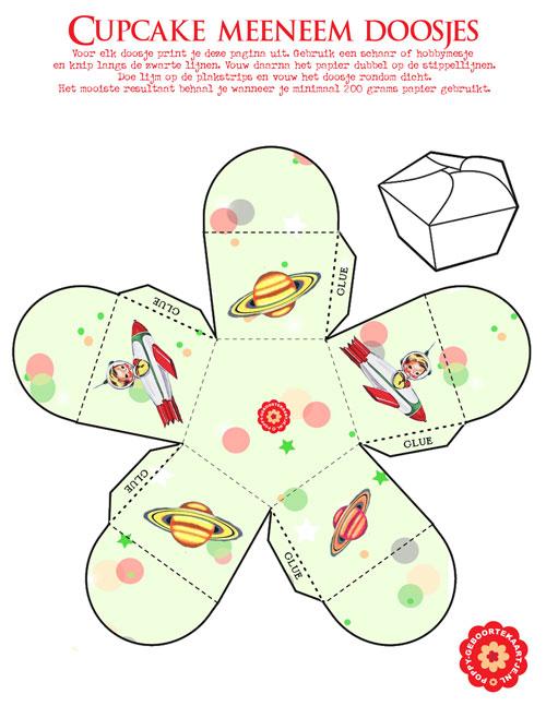 Gratis printable doosje om cupcake in mee te nemen