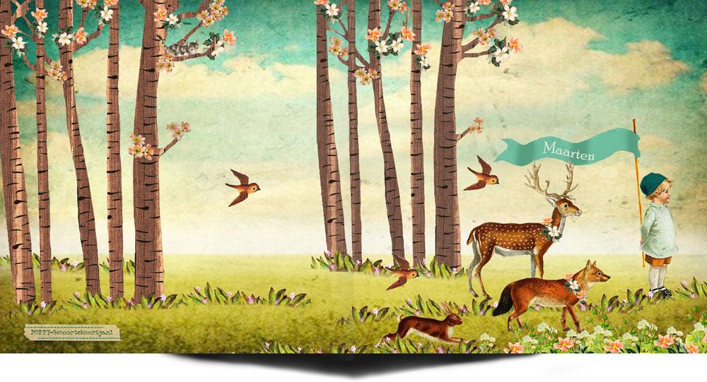 Geboortekaartje nostalgisch bos met vos, hert, konijn en vogeltje. Een romantisch geboortekaartje voor hem en haar.