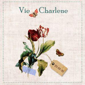 Vintage geboortekaartje met tulpen, vlinders en oude label tag