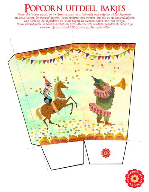 Gratis download, gratis printable uitdeel bakje circus. Ook voor popcorn te gebruiken, of voor een kinderfeestje, kindertraktatie op school, babyshower.