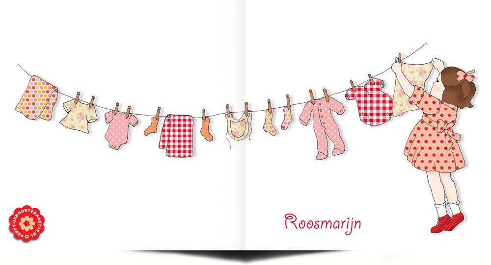 Lief geboortekaartje met een waslijntje voor een meisje. Aan het waslijntje hangt een roze jurkje, pyama, sokjes en romper.