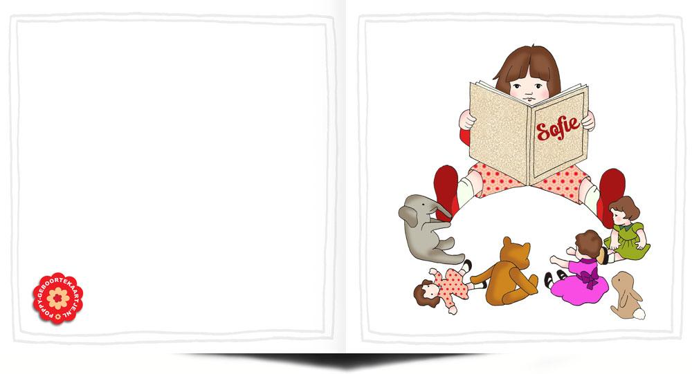 Geboortekaartje nostalgisch handgetekend. Meisje is de poppen en knuffels aan het voorlezen. Op het boek staat de naam van de pasgeboren baby.