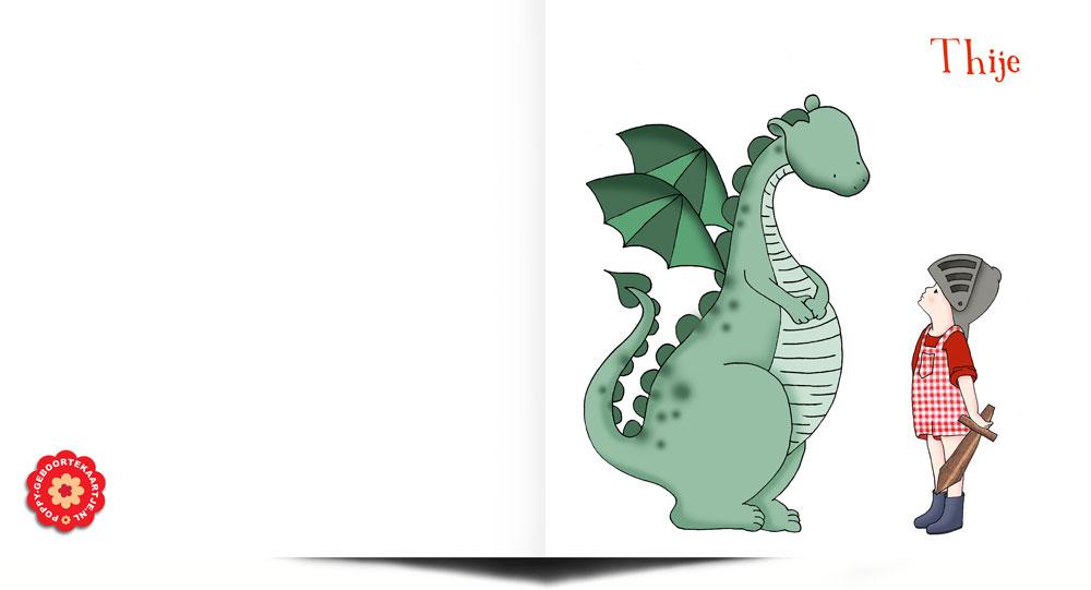 Geboortekaartje lief met dinosaurus en ridder. Handgetekend door Studio POPPY.