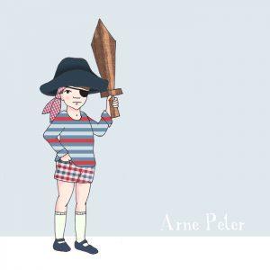 Geboortekaartje met illustratie van een verkleed piraatje. Handgetekend door Studio POPPY.