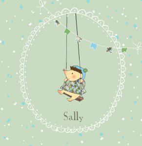 Lief geboortekaartje met egeltje op een schommel. Handgetekende illustraties van Studio POPPY