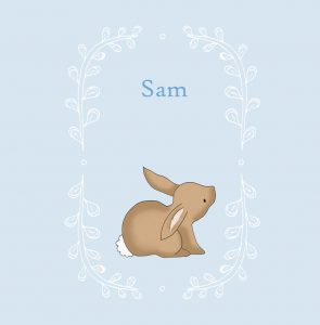 Lief handgetekend geboortekaartje met konijn