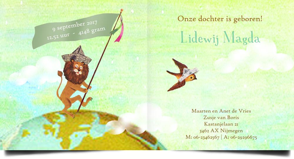 Geboortekaartje nostalgisch met parade van dieren wandelend over de wereld. De leeuw met vaandel loopt voorop!