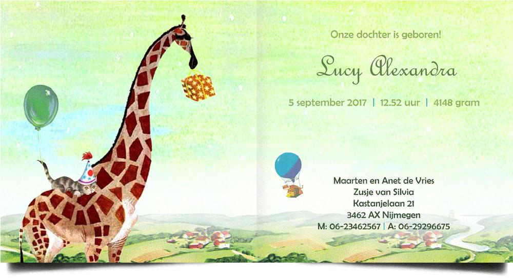 Geboortekaartje in retro stijl met giraffe. Deze kaart en nog veel meer vintage geboortekaartjes met een knipoog naar vroeger vind je bij Studio POPPY.