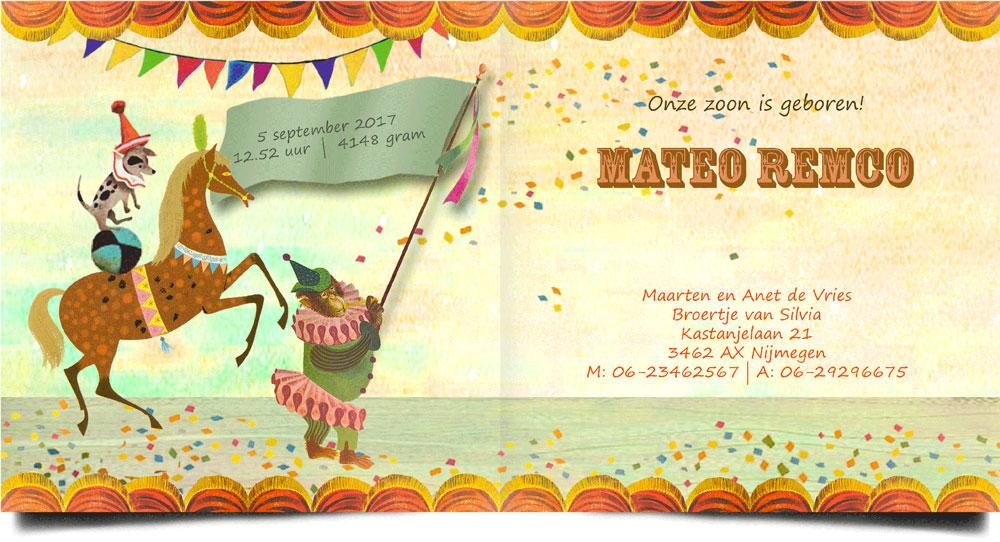 Geboortekaartje nostalgisch circus. Een vrolijk geboortekaartje waar het beste van vintage en retro samen komen.