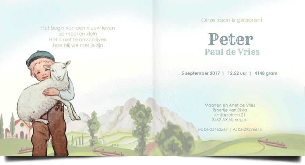 Geboortekaartje nostalgisch jongen met schaap. Zwitserse alpen.
