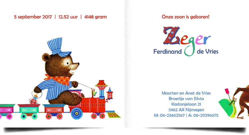 Retro geboortekaartje met beer en aap in een treintje. Romantische tafereeltjes die zo uit een jaren '60 voorleesboekje gelopen zijn. Ideaal als illustratief geboortekaartje.