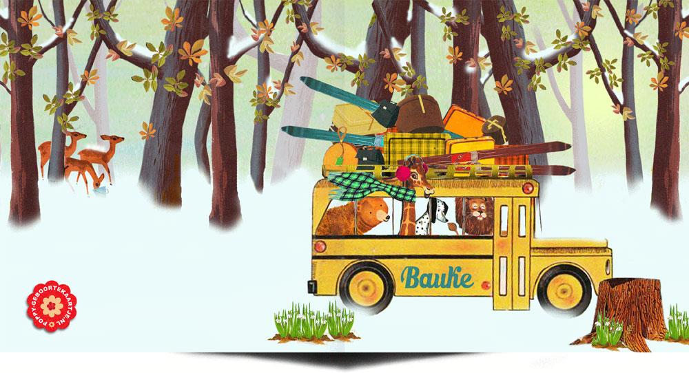 Geboortekaartje retro winter met retro bus is een betoverend winterlandschap in retro sfeer. De ski en koffers staan al klaar om op wintersport te gaan! Deze en veel meer winter geboortekaartjes bij Studio POPPY.