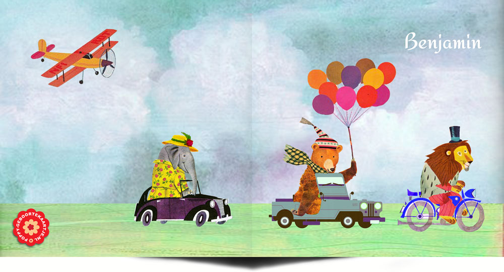 Geboortekaartje retro vintage is een prachtig collage kaartje die je een beetje doet denken aan de jaren '60 vintage voorleesboekjes. De geboortekaartjes zijn bijzonder illustratief en vertellen allemaal hun eigen verhaal. Deleeuw op een motor, de beer in de jeep en de olifant in de auto, kan het gekker? Ontworpen in de authentieke vintage stijl van Studio POPPY.