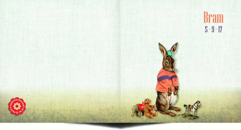 Geboortekaartje nostalgisch met konijn en vintage speelgoed