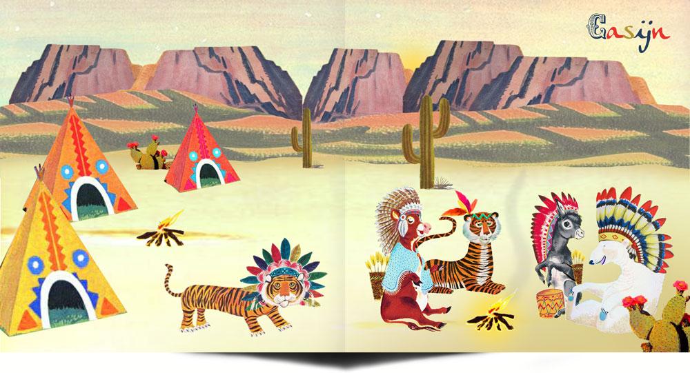 Geboortekaartje retro indiaan met tipi en verentooien. De tijger, koe, ezel en ijsbeer zitten aan het kampvuur, i dat geen gek tafereeltje? Ze lijken zo uit een voorleesboekje gelopen.