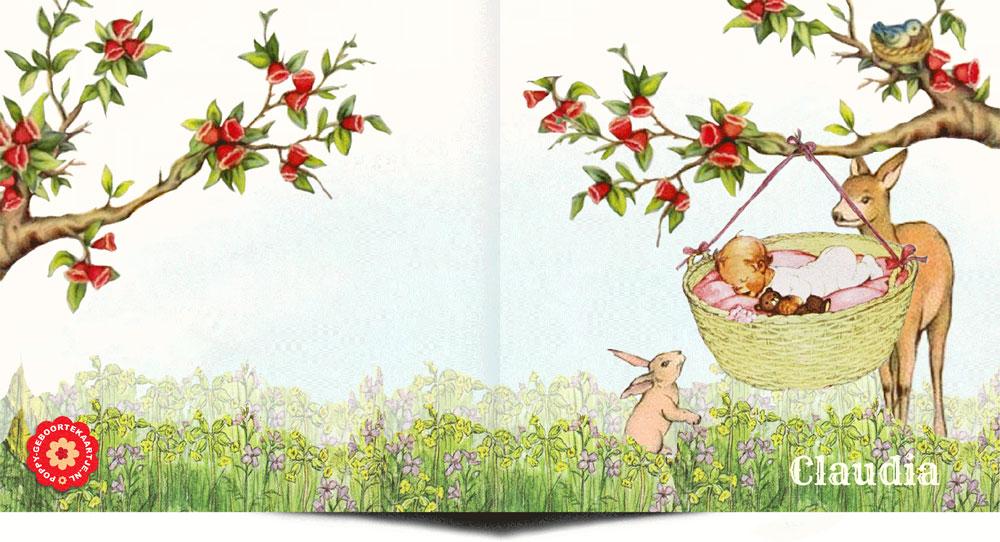 Geboortekaartje retro stijl met slapend kindje in het weiland. Het retro hertje en konijntje waken over de baby.