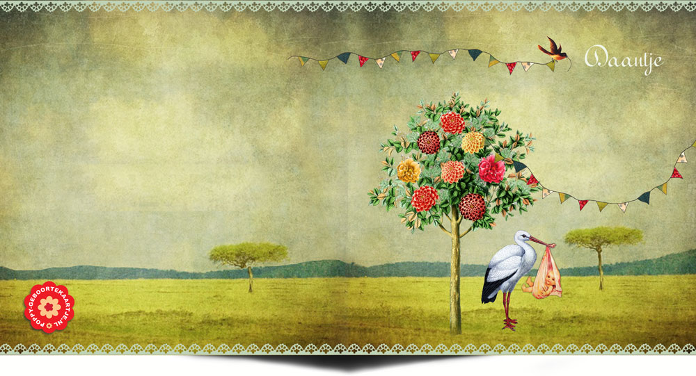Een prachtig klassiek vintage geboortekaartje met ooievaar. In het vintage geboortekaartje komt het beste van retro, vintage en nostalgie samen. De verrassende collages maken dit geboortekaartje toch eigentijds.