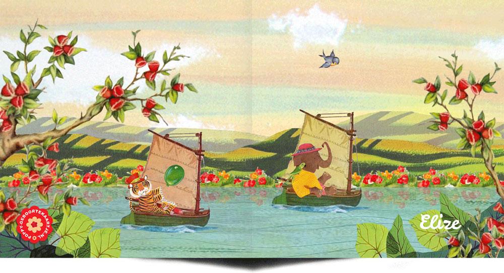 Geboortekaartje retro stijl met illustratieve prenten. Zoals dit geboortekaartje met dieren in bootjes in de zomer.