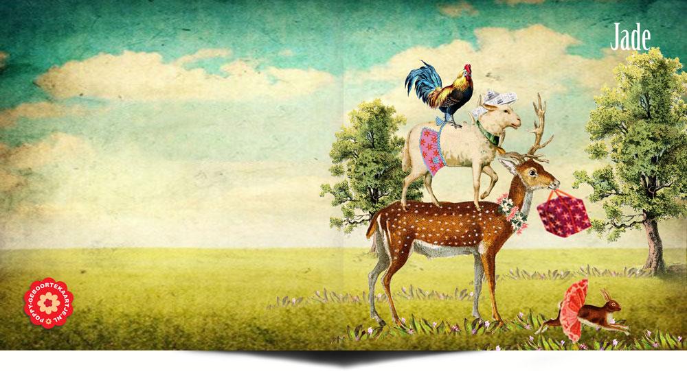 Geboortekaartje nostalgisch hert, schaap, haan en konijn. Onderweg om de kleine nieuwe baby te verwelkomen!