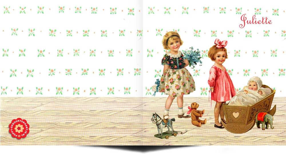 Geboortekaartje nostalgisch zus is een geboortekaartje waar de zussen ook een rol spelen op het kaartje. De zussen staan bij de wieg naar hun baby zusje te kijken. Nostalgisch geboortekaartje.