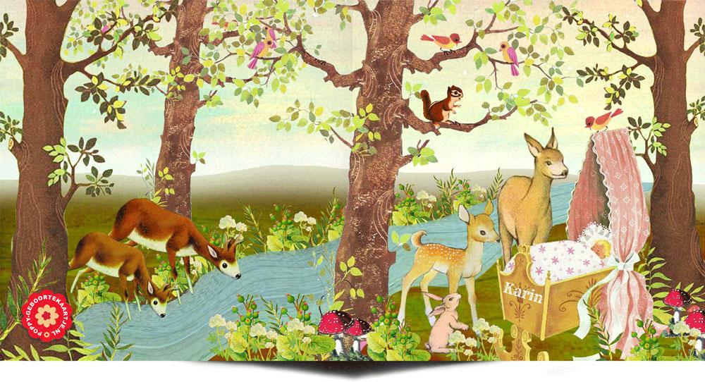 Geboortekaartje vintage herfst is een romantisch tafereeltje van dieren uit het woud die naar het pasgeboren kindje komen kijken. De hertjes, konijntjes, vogeltjes en eekhoorn komen zo uit een jaren '60 voorleesboekje gelopen. In deze sfeer heeft POPPY nog veel meer geboortekaartjes.