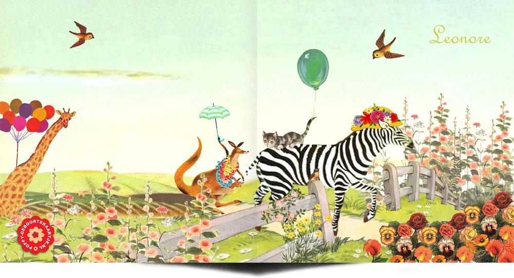 Geboortekaartje nostalgisch lente waar dieren een bezoek gaan brengen aan de pasgeboren baby. Doet je denken aan de oude voorleesboekjes. Illustratief geboortekaartje waar het beste van vintage en retro samen komen.