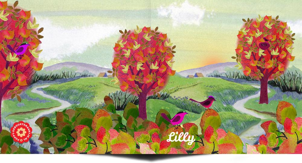 Geboortekaartje collage heuvellandschap met bomen en groen.