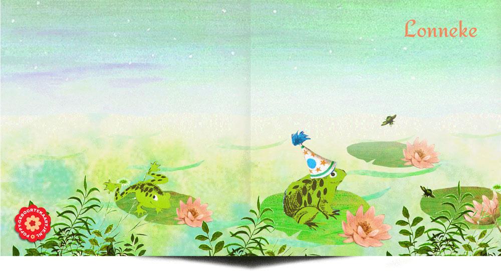 Een retro geboortekaartje met romantisch tafereeltje van een kikker in het water tussen de waterlelies. Ze komen zo uit een jaren '60 Gouden Boekjes voorleesboekje gezwommen. In deze sfeer heeft POPPY nog veel meer geboortekaartjes.
