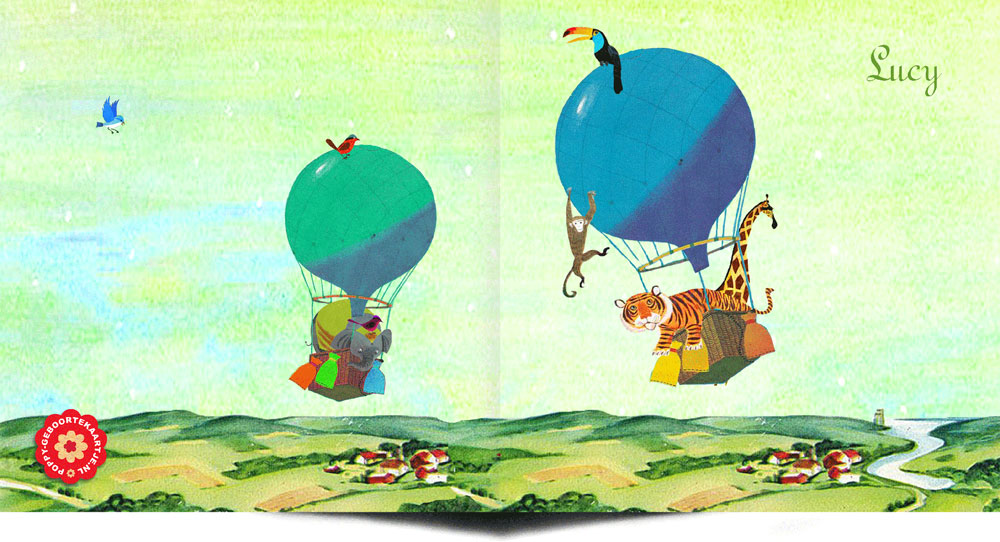 Geboortekaartje nostalgisch retro met luchtballon waar een giraffe en tijger bivakkeren. Een fantasievol kaartje als geboorte aankondiging.