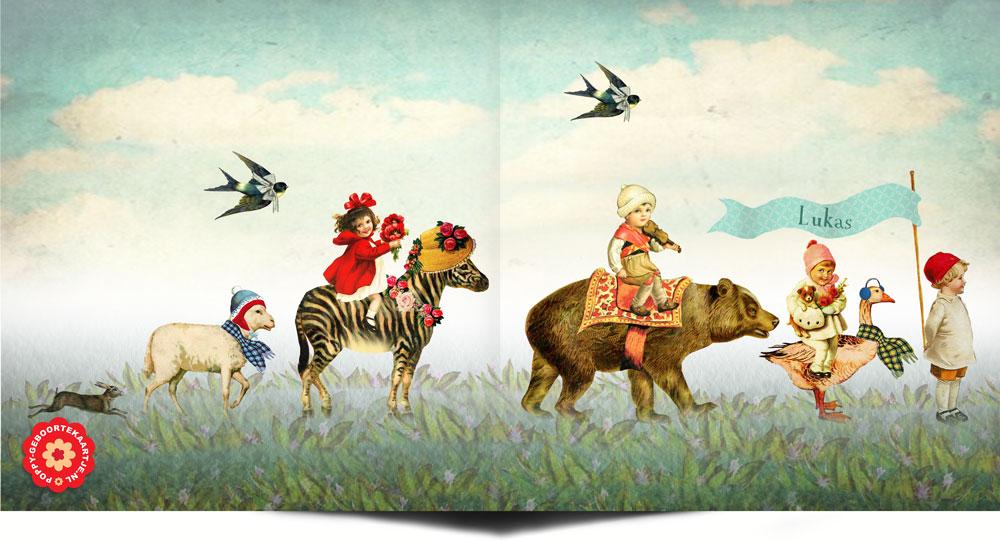 Nostalgisch geboortekaartje met dierenparade. De dierenparade bestaat uit een gans, haas, beer, zebra en schaap.