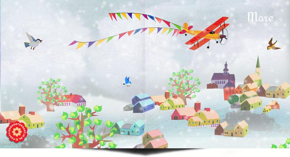 Geboortekaartje winter retro winterlandschap met vrolijke huisjes en vliegtuig.