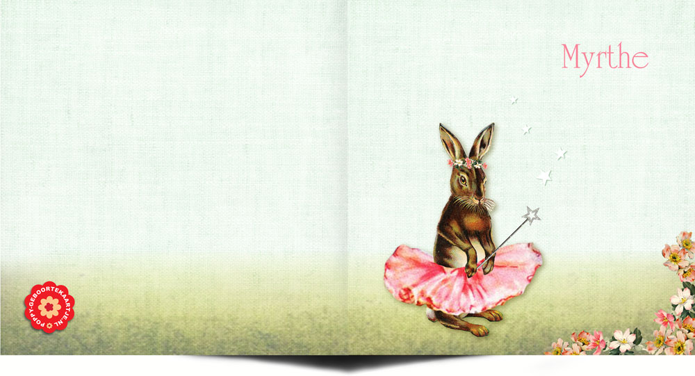 Geboortekaartje nostalgisch met konijn als ballerina. Het beste van vintage en nostalgisch komen hier samen. Dit en nog vele andere konijntjes verkrijgbaar in de collectie Studio POPPY.