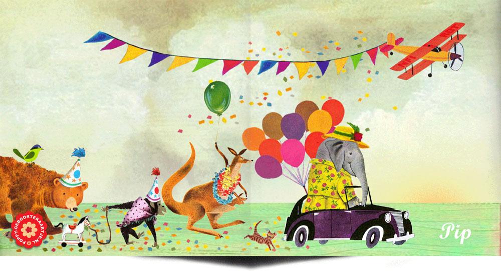 Geboortekaartje retro nostalgisch met bonte stoet van olifant, kangaroe, beer en aap. Het vliegtuig maakt deze geboortekaart helemaal vrolijk.