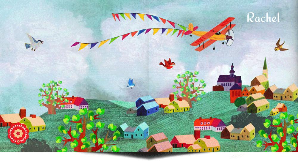 Geboortekaartje nostalgisch lente van een dorp en overvliegend vliegtuig. Doet je denken aan de oude voorleesboekjes. Illustratief geboortekaartje waar het beste van vintage en retro samen komen.
