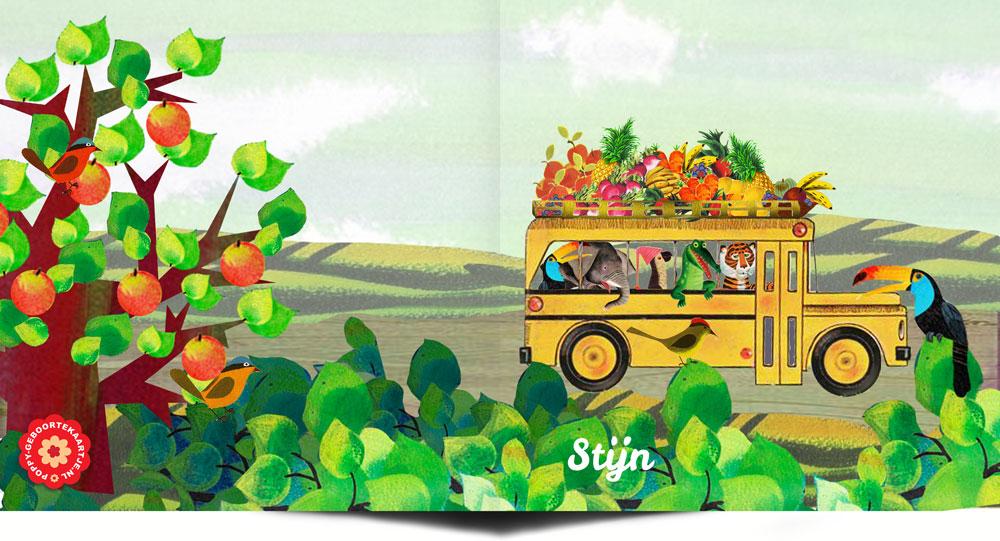 Geboortekaartje retro bus met dieren in zomers landschap. De tijger, krokodil, papegaai, olifant en toekan gaan een reis maken.