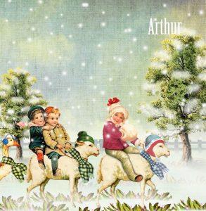 Geboortekaartje nostalgisch winter is een prachtige winterparade in een betoverend winter landschap. Ze lijken uit een voorleesboek gelopen in vintage stijl. De schapen, gans en poes vermaken zich opperbest.
