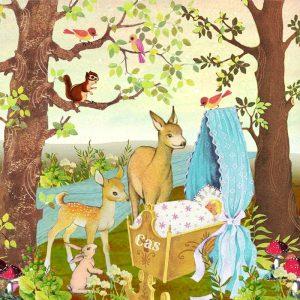 Geboortekaartje retro herfst is een romantisch tafereeltje van dieren uit het woud die naar het pasgeboren kindje komen kijken. De hertjes, konijntjes, vogeltjes en eekhoorn komen zo uit een jaren '60 voorleesboekje gelopen. In deze sfeer heeft POPPY nog veel meer geboortekaartjes.