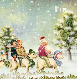 Nostalgisch geboortekaartje winter. De kindjes lopen in parade door het sneeuwlandschap op schapen en ganzen.