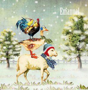 Nostalgisch geboortekaartje winter. De boerderijdieren schaap en gans en haan staan op de uitkijk.
