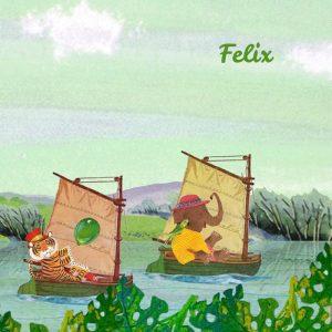 Geboortekaartje retro stijl met illustratieve prenten. Zoals dit geboortekaartje met dieren in bootjes in het voorjaar.