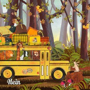 Geboortekaartje retro herfst, één van de leuke nostalgische geboortekaartjes met bus vol dieren die op pad zijn. Elk seizoen is mogelijk.