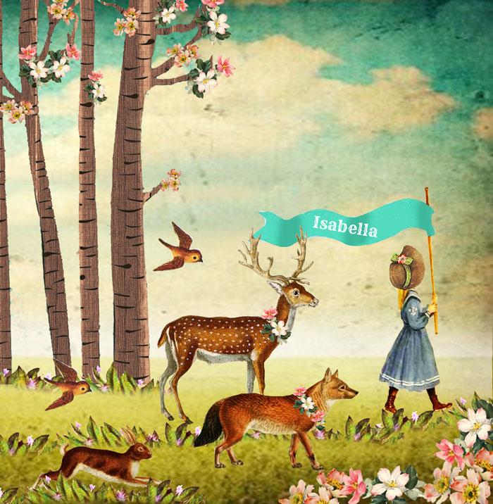 Geboortekaartje met hert en vos