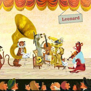 Geboortekaartje nostalgisch muziek orkest van allerlei vrolijke beesten. Een vrolijk geboortekaartje waar het beste van vintage en retro samen komen.