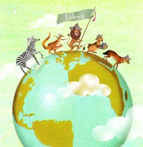 Geboortekaartje retro met parade van dieren wandelend over de wereld. De leeuw met vaandel loopt voorop! In de parade lopen de zebra, kangaroo, leeuw, koe en vos mee.