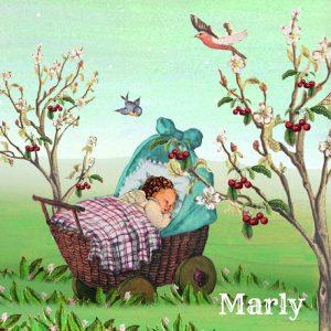Geboortekaartje nostalgisch lente of zomer met wandelwagentje tussen de kersenbloesem.