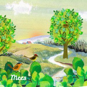 Geboortekaartje lente retro met natuurlandschap met bomen en vogels. Er zijn nog veel meer geboertjekaartjes met de seizoenen.