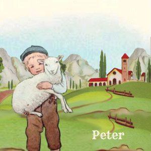 Geboortekaartje nostalgisch jongen met schaap.