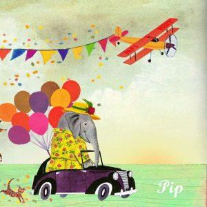 Geboortekaartje retro nostalgisch met bonte stoet van olifant, kangaroe en aap. Het vliegtuig maakt deze geboortekaart helemaal vrolijk.