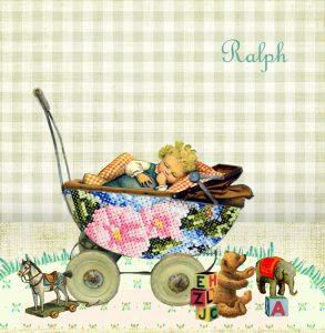 Een vintage geboortekaartje met tweeling in wandelwagentje. Door de geruite stof en geborduurde wagentje lijkt het net handwerk. Het beste van nostalgie, vintage en retro komen in dit geboortekaartje samen.