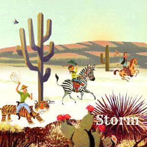Retro geboortekaartje cowboy in een wereld waarin alles kan en mag. Een cowboy op giraffe, kangaroo, zebra of tijger, ze lijken wel uit een jaren '60 gouden boekjes voorleesboekje gelopen